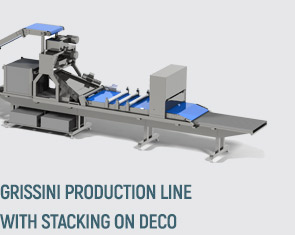 Grissini production line with stacking on deco